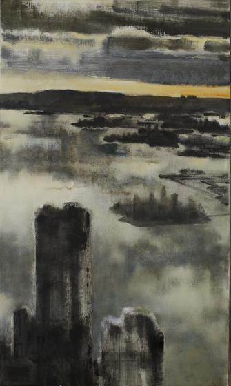 Winter Harbor with Ellis Island, 2011, Oil on canvas, 36x21