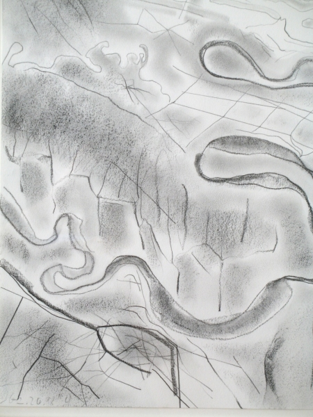 """in flight"", Rivers, 2001, Graphite on paper, 14x11"