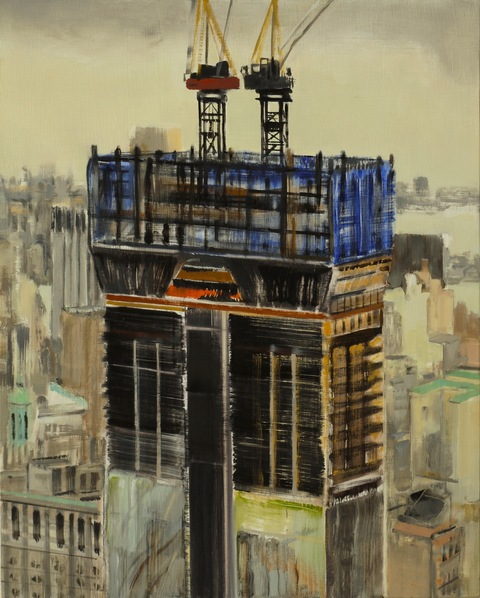 Tower #4 (under construction). 2011, Oil on panel, 20x16