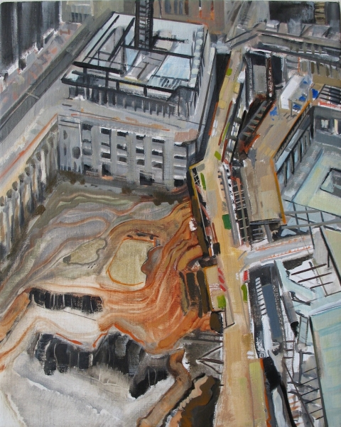 City Paintings Ground Zero Pit, 2010, Oil on linen, 20x16