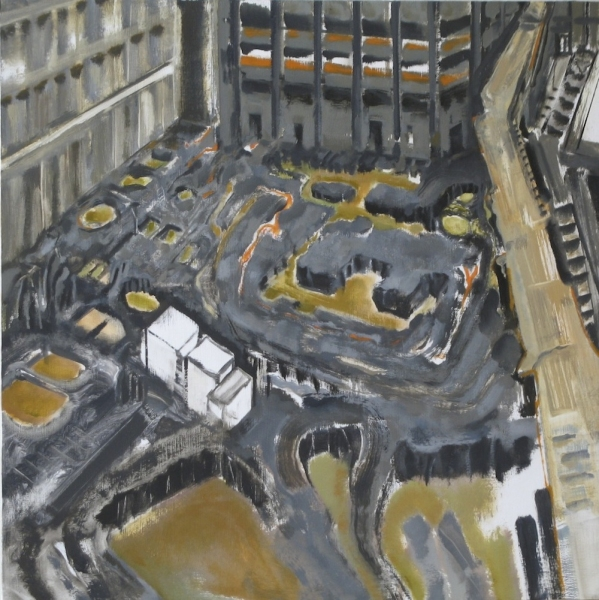 City Paintings Ground Zero Pit, 2010, Oil on panel, 24x24