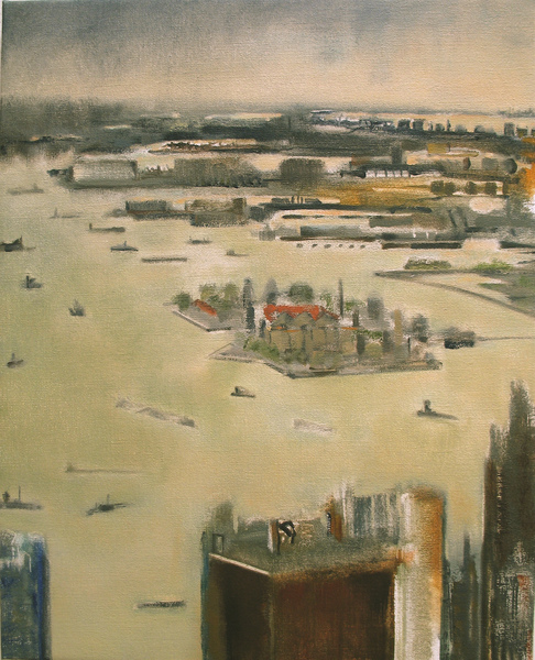 City Paintings Harbor with Ellis Island, 2009, Oil on canvas, 20 x 16