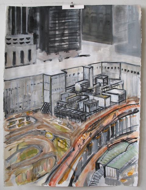 City Paintings S.E. Corner, Ground Zero, 2009, Acrylic on paper, 30 x 22