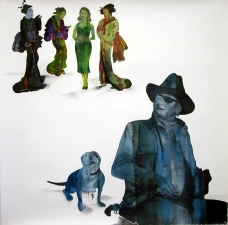 Jaime Scholnick John Wayne Series mixed media on paper