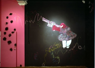 Jaime Scholnick Hello Kitty Gets A Mouth wall paint, chalk