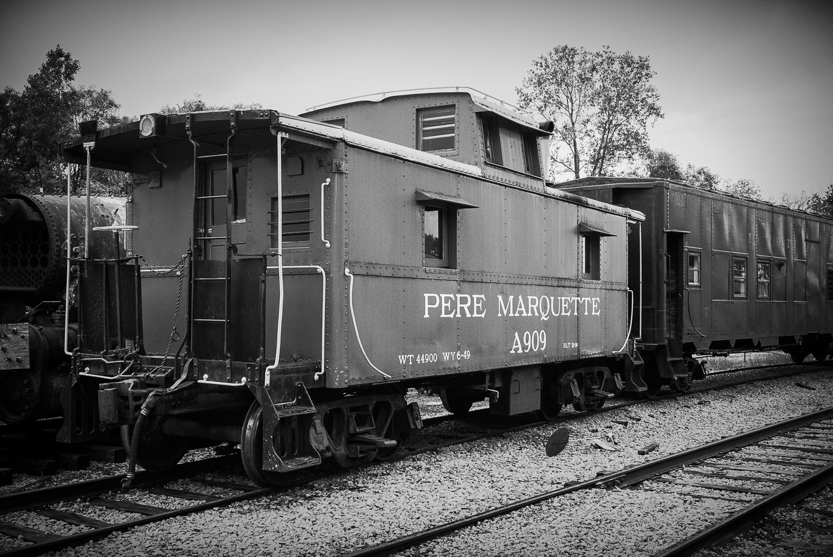 Iron, Steel and Steam Pere Marquette Caboose - BW