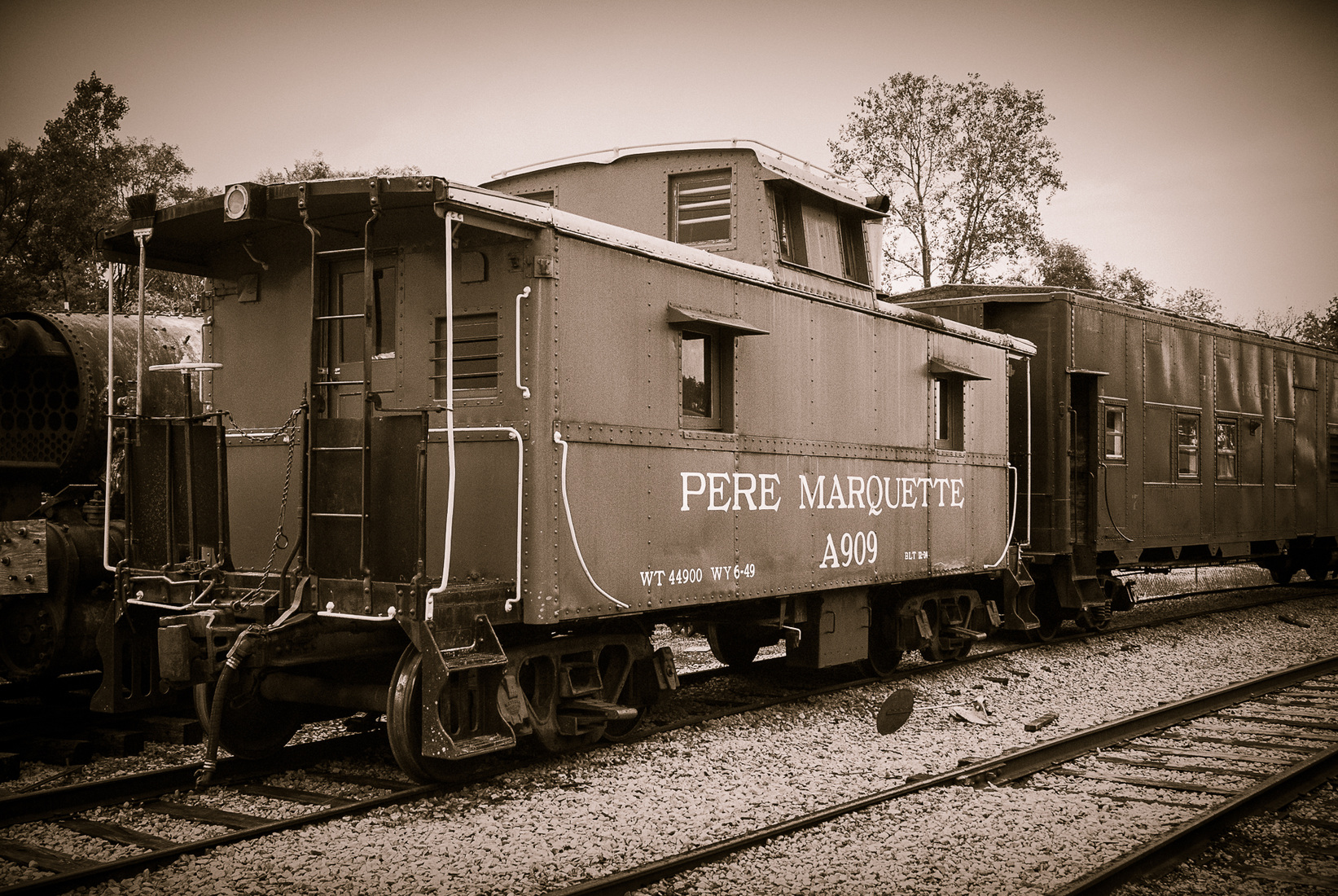 Iron, Steel and Steam Pere Marquette Caboose - Duotone