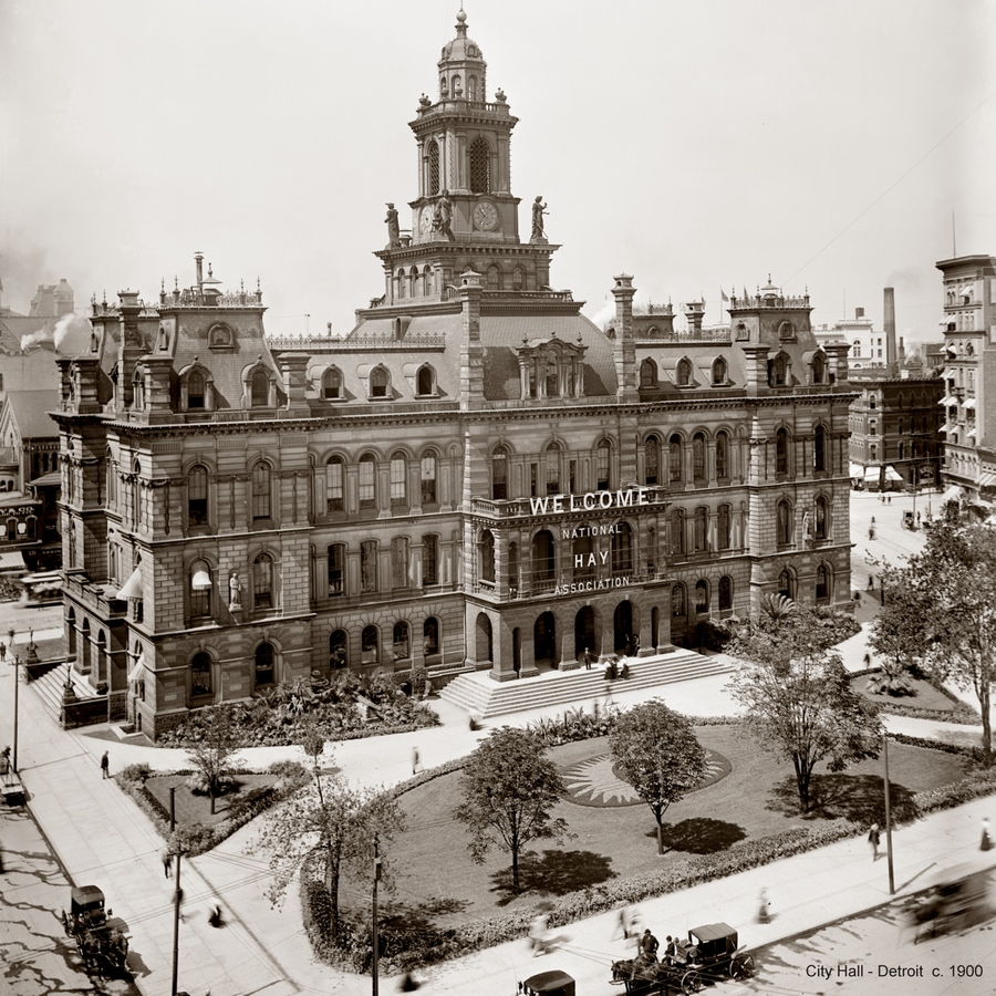 Historic Photographs Old City Hall - Detroit c1900