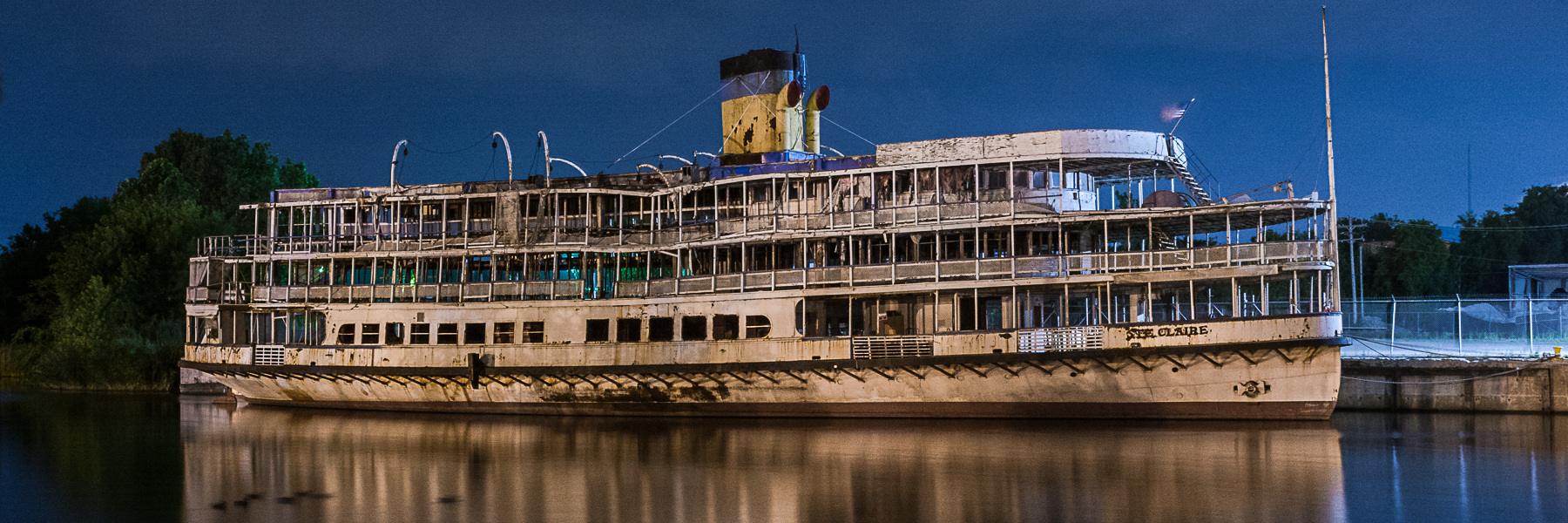 Bob-Lo Ste. Claire Nocturne - Bob-Lo steamer Ste. Claire rests at her berth on the Rouge River.  --  26 June 2016