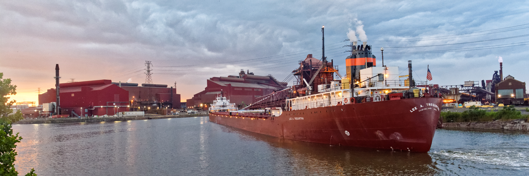 Detroit River Evening Arrival - Lee A. Tregurtha in Rouge Turning Basin with a load for AK Steel.