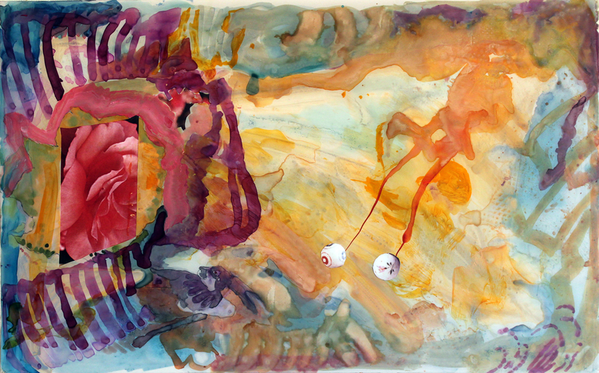 Jane Dell            Mixed Media on Mylar  watercolor inks,acrylic,collage on Mylar