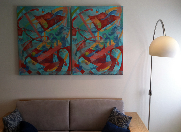 Jane Dell            Installation Photos acrylic on canvas-diptych
