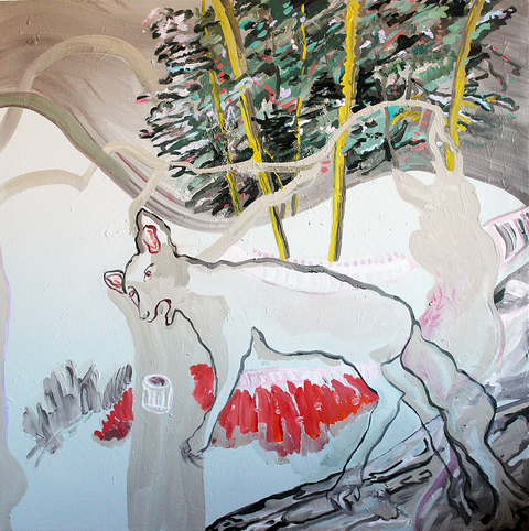 Jane Dell            Hybrids and Special Species Paintings acrylic/collage on canvas