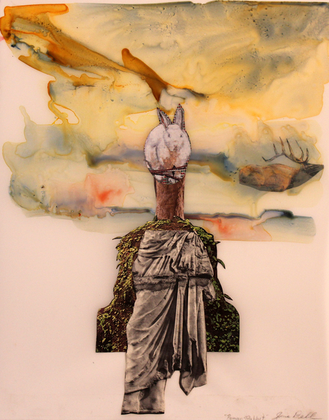 Jane Dell            Mixed Media on Mylar  watercolor ink, photo/collage on mylar