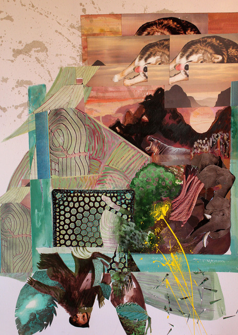 Jane Dell            Lunar Phase Landscapes acrylic, watercolor ink, photo/collage on 300 lb. cold press Arches hand molded paper