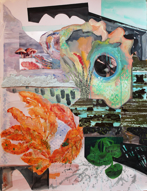 Jane Dell            Lunar Phase Landscapes acrylic,watercolor ink, photo/collage,mylar on 300 lb. cold press Arches paper