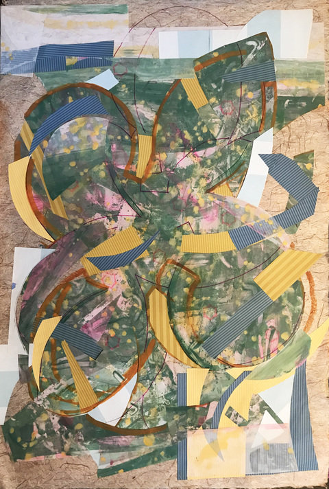 Jane Dell            Mixed Media on Mylar  Mylar, acrylic, marker, paper collage on Abaca handmade paper