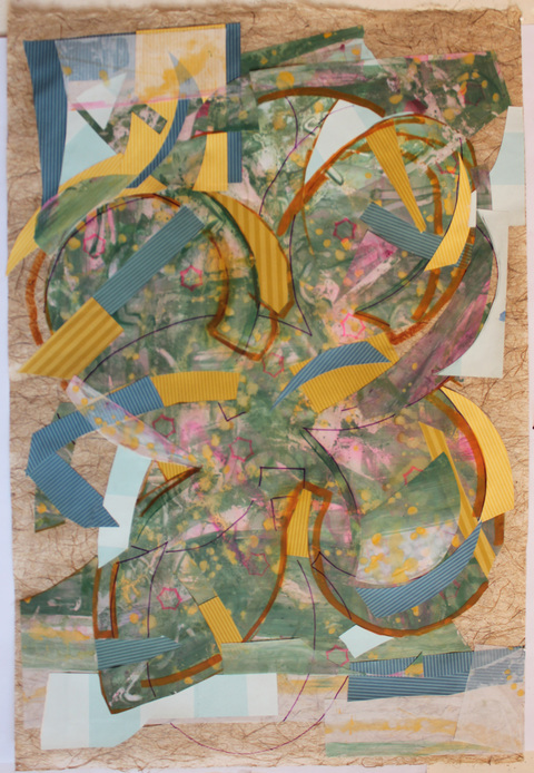 Jane Dell             Works On Paper Mylar, acrylic paint, marker, wallpaper on abaca handmade paper