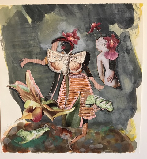 Jane Dell            Mixed Media on Mylar  collage/ink on paper