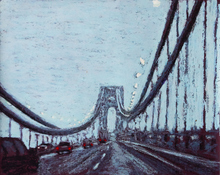 Jane Dickson Bridges & Tunnels Oilstick on blue paper
