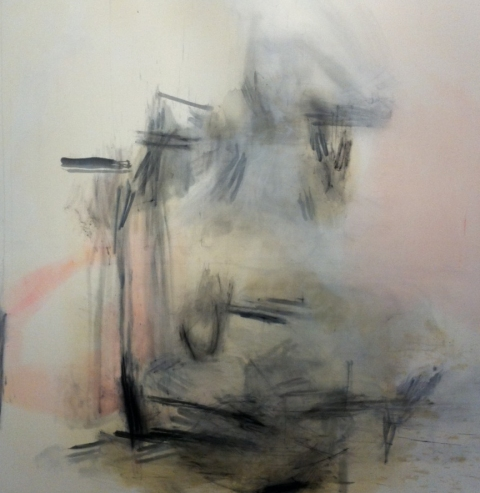 jane hugentober 2012 untitled oil, ink, oil pastel and bleach on canvas