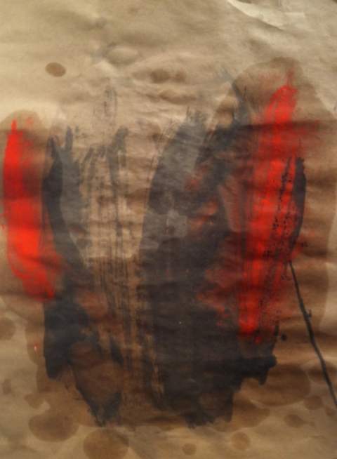 jane hugentober 2012 untitled oil, ink and oil pastel on brown paper