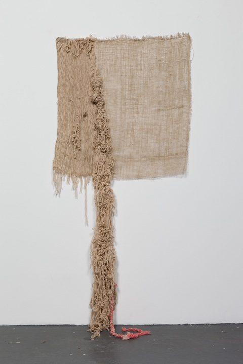 jane hugentober 2013 wall hangings Wool, Silk, Gesso, Burlap