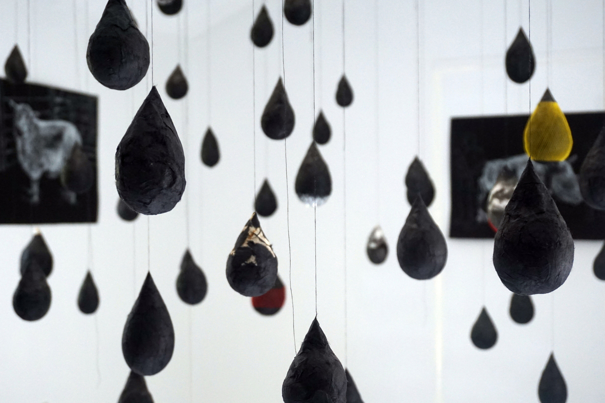 Sculpture/Installation One Hundred Black Droplets for Mary