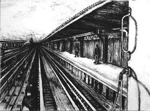 Janell O'Rourke M Train charcoal on paper