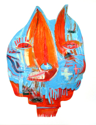 JANET MATHIAS Collage Masks collage of painted paper, sailing images, acrylic and oil pastel