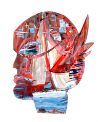 JANET MATHIAS Collage Masks collage of painted paper and boat images