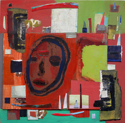 JANET MATHIAS Collage Squares collage and acrylic on panel