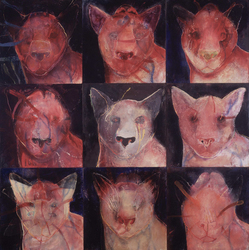 JAN HARRISON Encaustic Paintings 2004-2007 encaustic, pastel and charcoal on nine wood panels