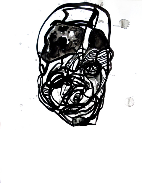 JANICE SLOANE Head Face  Drawings 2016 india ink on acid free paper