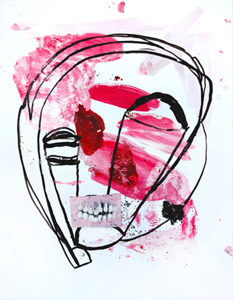 JANICE SLOANE Head Face Drawings - 2016 india ink, acrylic paint, glitter, glue on acid free paper