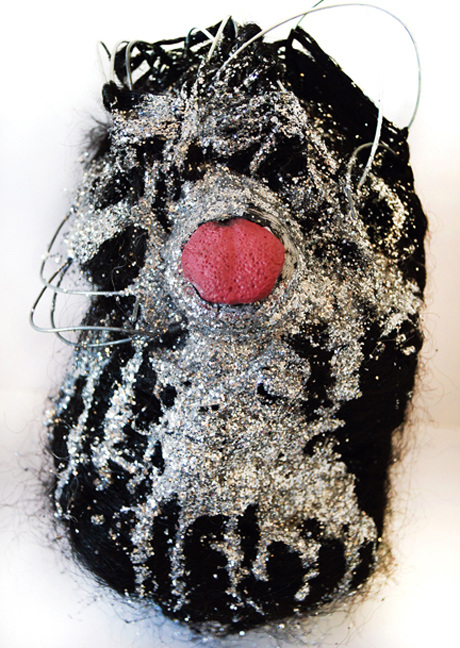 JANICE SLOANE Heads 2007-17 styrofoam, vinyl, glitter, glue, wire, pins, artificial hair