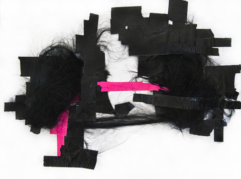 JANICE SLOANE Hair - Collages 2013 - 2014 duct tape, artificial hair on acid free paper