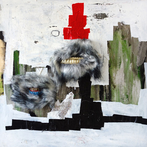 JANICE SLOANE Paintings 2015 acrylic paint, fake fur, duct tape, vinyl, glitter on wood panel