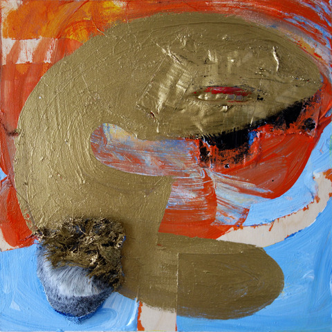 JANICE SLOANE Paintings 2015 acrylic paint, latex, duct tape, fake fur