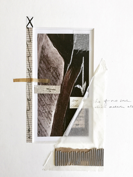 JANICE STANTON UNTITLED Photograph, gauze, newsprint, chalk, paper.
