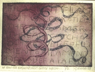 Janina Ciezadlo The History of the Knot Color Drypoint