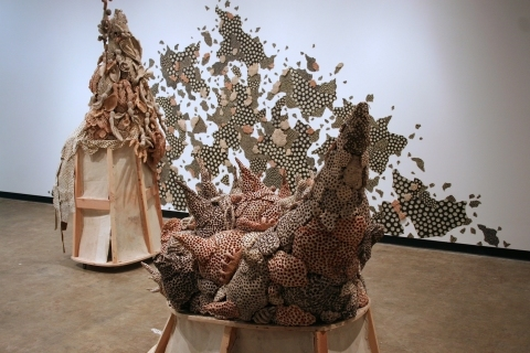 Jared Theis Sculpture and Installation Stained Ceramics, Metal, Wire, Wood, Screws, Caster Wheels, Paint, Tarpaper, Pins
