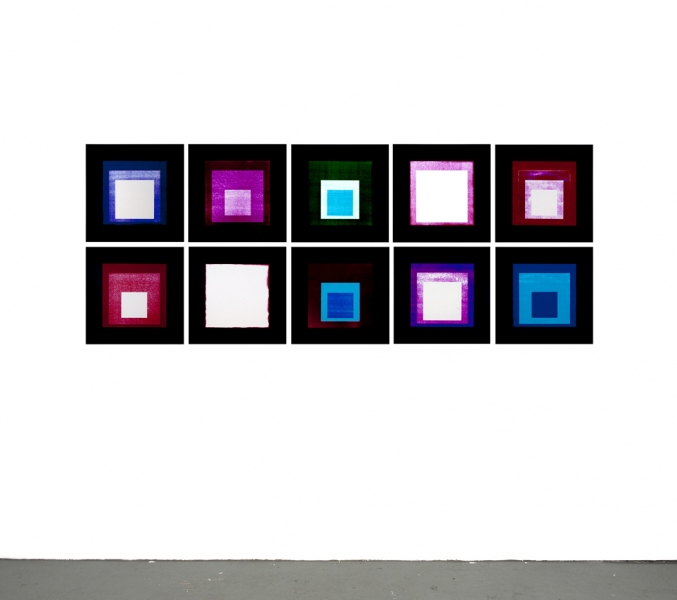 JASON KALOGIROS 2010 10 color photograms (install view)