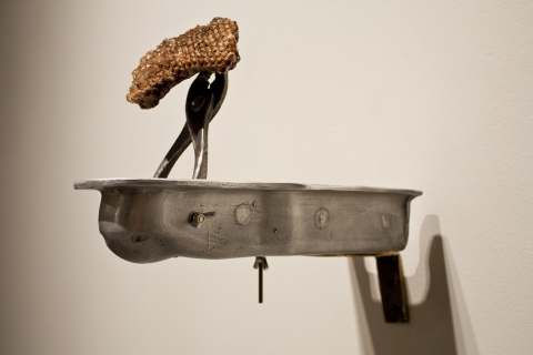 Sculpture Wasp Nest, Cast Aluminum, Steel Pliers, Brass