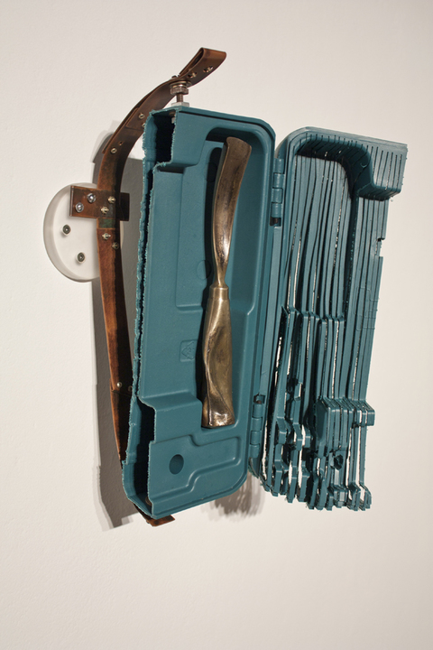 Sculpture Plastic (from Makita Brad Nailer Case), Cast Bronze Gouge, Copper, Plexiglass