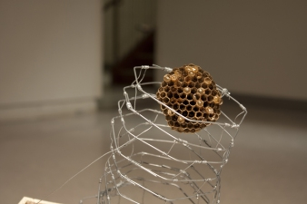 Sculpture Wasp Nest, Wood, Wire, Braided Fishing Line, Bolt, Stick, Galvanized Wire