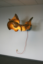 Sculpture Steel, Plywood, Fiberglass, Fluorescent Light, Extension Cord