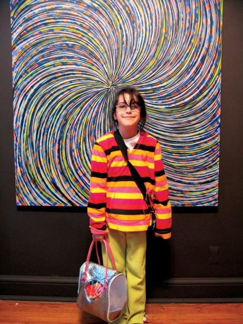 Posing with Foos art Visitor