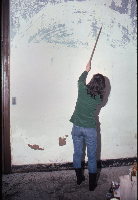 1983 THE PIER 34 SHOW Jean Foos  scraping paint off plaster wall.
