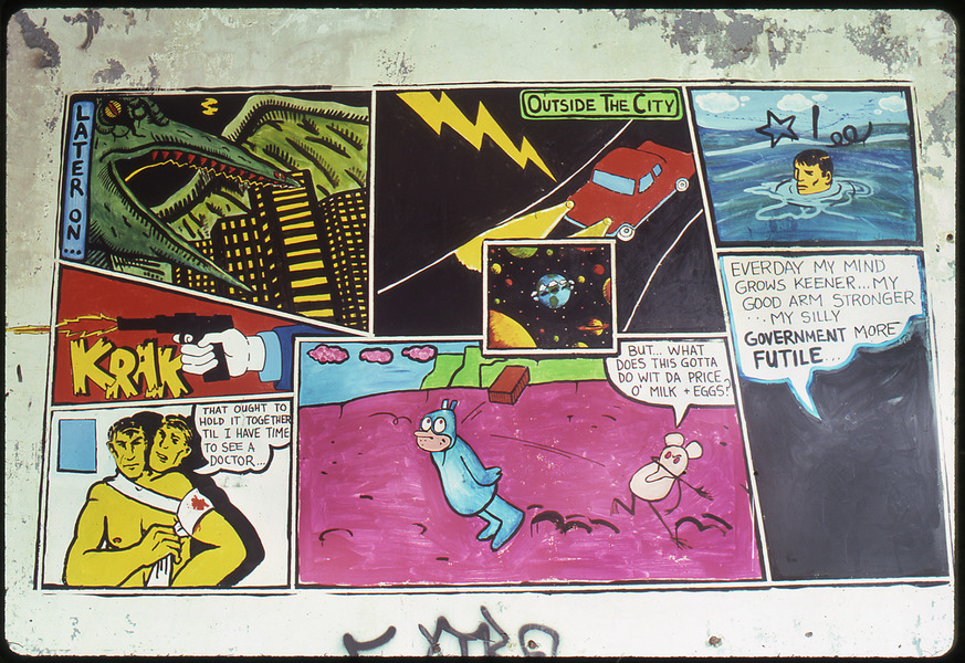 1983 THE PIER 34 SHOW David Wojnarowicz cartoon painting